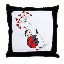 ladybug with heart tree Throw Pillow