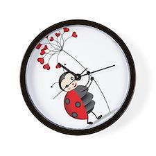 ladybug with heart tree Wall Clock