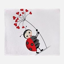 ladybug with heart tree Throw Blanket