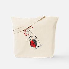 ladybug with heart tree Tote Bag