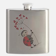 ladybug with heart tree Flask