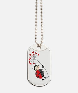 ladybug with heart tree Dog Tags