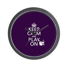 Keep Calm and Play On (drums) Wall Clock