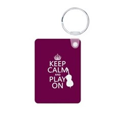 Keep Calm and Play On (double bass) Keychains