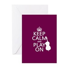 Keep Calm and Play On (double bass) Greeting Cards