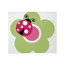 ladybug on flower-2 Throw Blanket