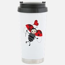Flying Ladybug with Heart Travel Mug