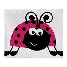 Happy Pink Ladybug Throw Blanket