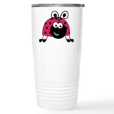 Happy Pink Ladybug Travel Mug