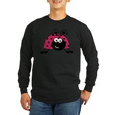 Happy Pink Ladybug Long Sleeve T-Shirt