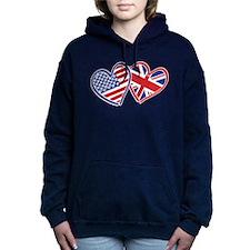 USA and UK Flag Hearts Hooded Sweatshirt