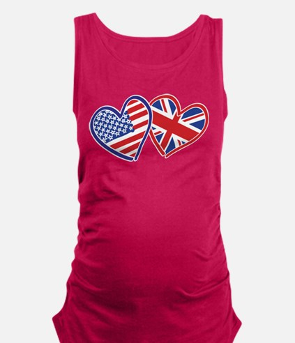 USA and UK Flag Hearts Maternity Tank Top