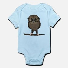 Hipster Owl with Glasses Body Suit