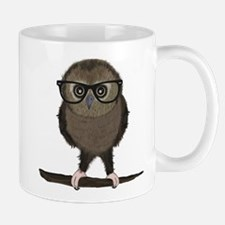 Hipster Owl with Glasses Mugs