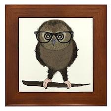 Hipster Owl with Glasses Framed Tile