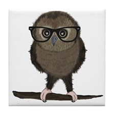 Hipster Owl with Glasses Tile Coaster
