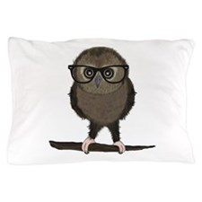 Hipster Owl with Glasses Pillow Case