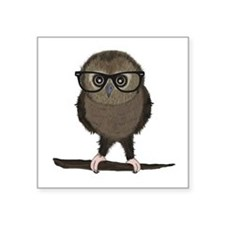 Hipster Owl with Glasses Sticker