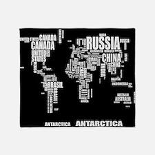 Typography Wolrd Map Throw Blanket