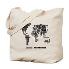 Typography World Map Tote Bag