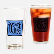 Blue Fleur Monogram R Drinking Glass