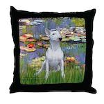 Lilies2-Bull Terrier (P) Throw Pillow