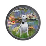 Lilies2-Bull Terrier (P) Wall Clock