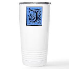 Blue Fleur Monogram J Travel Mug
