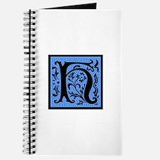 Blue Fleur Monogram H Journal