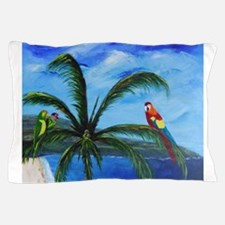 Tropical Parrots Pillow Case
