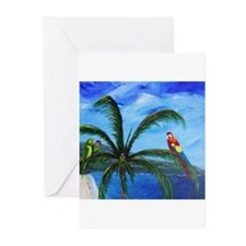 Tropical Parrots Greeting Cards