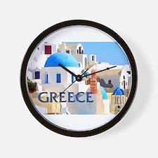 Blinding White Buildings in Greece Wall Clock