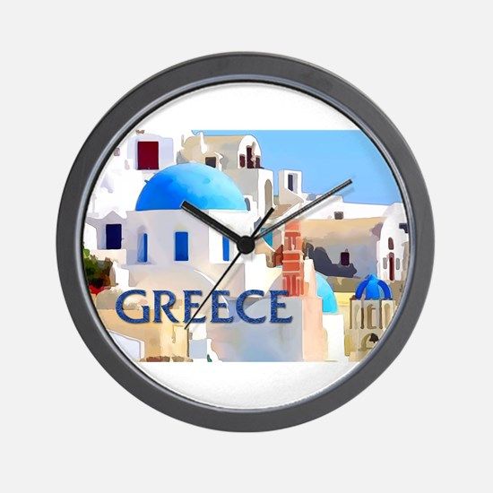Blinding White Buildings in Greece Wall Clock