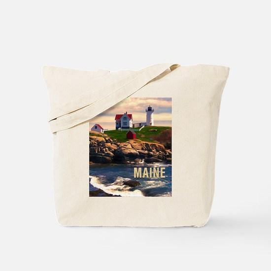 Cape Neddick Lighthouse Maine at Sunset Tote Bag