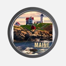 Cape Neddick Lighthouse Maine at Sunset Wall Clock