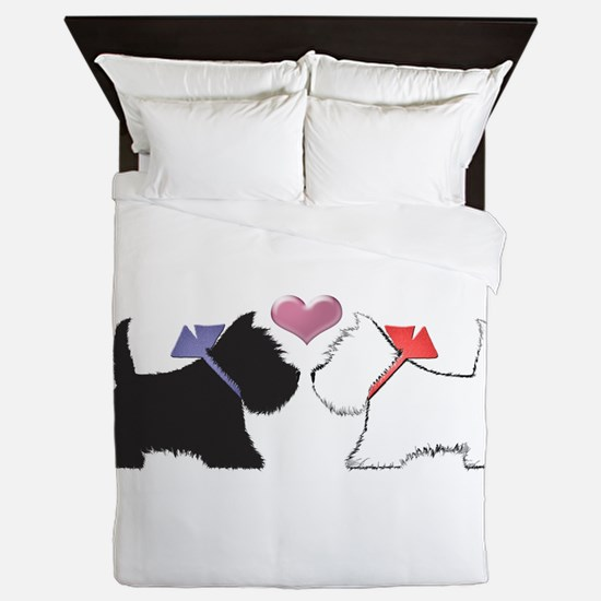 Westie Dog Art Queen Duvet