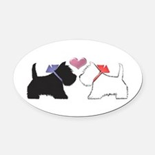 Westie Dog Art Oval Oval Car Magnet