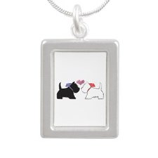 Westie Dog Art Silver Portrait Necklace