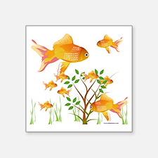 "Gold Fish Bowl Square Sticker 3"" x 3"""