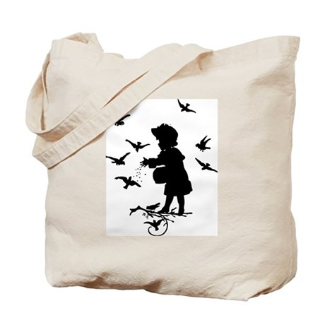 Girl Feeding Birds Tote Bag
