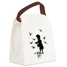 Girl Feeding Birds Canvas Lunch Bag