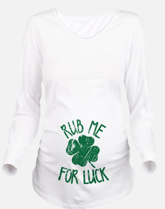 Rub Me For Luck Long Sleeve Maternity T-Shirt