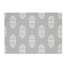 Silver And White Damask 5'X7'Area 5'X7'Area Rug