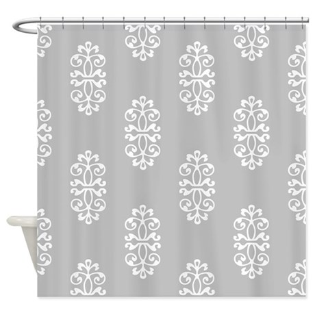Silver And White Damask Shower Curtain By Manchesterandbedding