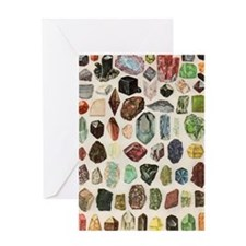 Vintage Geology Rocks Gems Gemstones Greeting Card