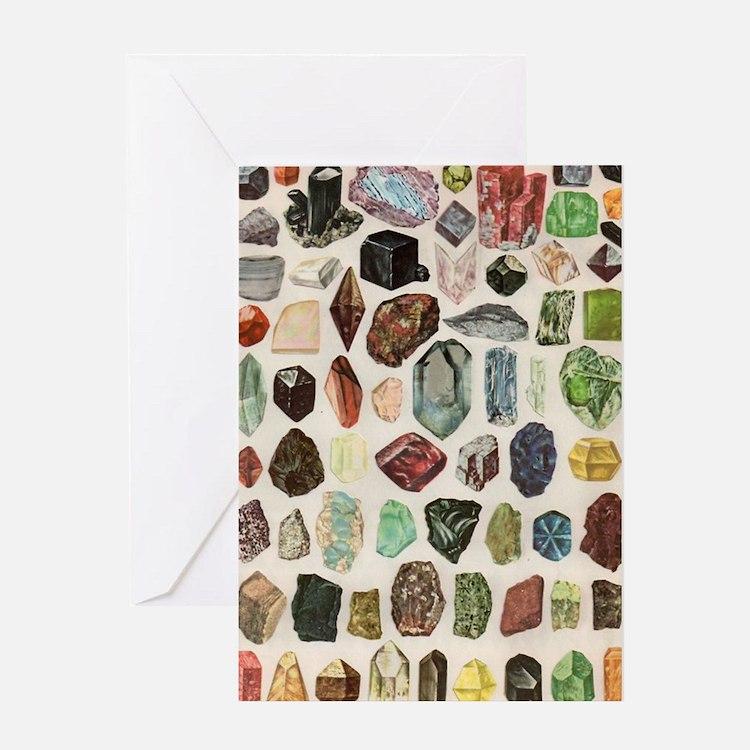 Vintage Geology Rocks Gems Gemstones Greeting Card