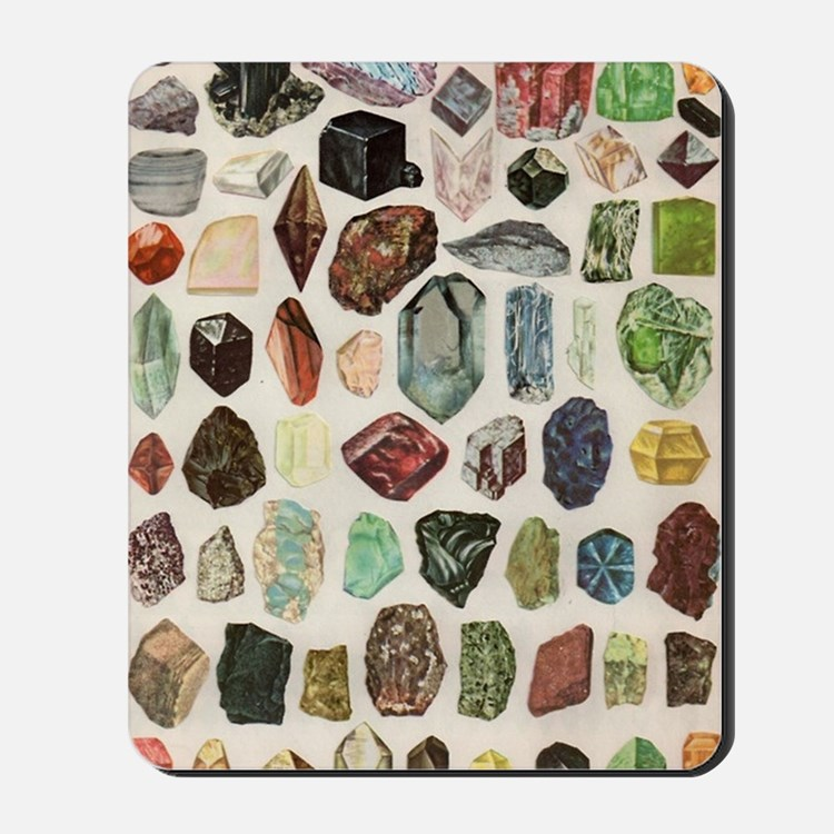 Vintage Geology Rocks Gems Gemstones  Mousepad