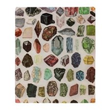 Vintage Geology Rocks Gems Gemstones Throw Blanket