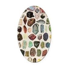 Vintage Geology Rocks Gems Gemston Oval Car Magnet