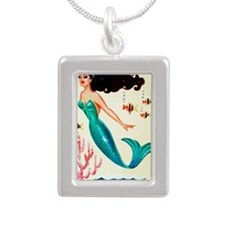 Retro Mermaid  Silver Portrait Necklace